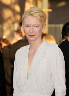 Tilda Swinton, Makes style choices that mere mortals must never attempt, except in fantasies. Case in point: invisible eyelashes.