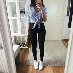 Simple Fall Outfits, Best Casual Outfits, Summer Fashion Outfits, Skirt Fashion, Fashion Clothes, Blue Jean Outfits, Cute Outfits With Jeans, Cute Outfits For School, Black Skinny Pants