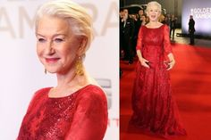 THE GOOD: Helen Mirren looks fantastic in a long-sleeved red-sequin designer gown, while also appearing to be an utter delight of a human. Hardly a shocker, sure, but still joyful. PS: The gown is by Jacques Azagury, a Morocco-born designer who's most famous for having often dressed Princess Diana (and in many of her sleeker style moments too).