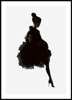 Stylish poster, dark silhouette on a gray background.