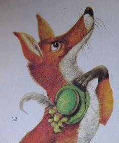 Fox doffs his dandy cap. Karel Franta. Czech illustrator. Vintage illustration. Animal fairy stories.