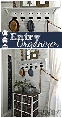 Pottery Barn Inspired Entry Organizer – DIY Home Decor Retro Home Decor, Fall Home Decor, Unique Home Decor, Diy Home Decor, Diy Furniture Plans, Furniture Projects, Home Projects, Entry Organization, Organizing