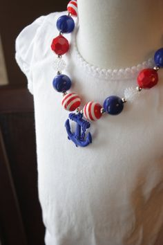 Girls  Nautical Patriotic Anchor Necklace - Chunky  Necklace - Bubblegum Necklace -   Photo Prop Jitterbug Kids Couture   https://www.etsy.com/shop/Jitterbugkidscouture
