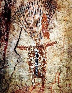 Panther Cave, The Ecstatic Shaman: Many of the inverted flying or falling figures in the Pecos River style pictographs are shown with streaming unbound hair, one of the characteristics that illustrates the symbolic flight of the shaman between the worlds of the living and the dead.