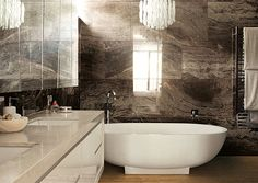 Brown marble bathroom tile Agate, Lapis and Quartz: Mineral Decor for a Dazzling Interior
