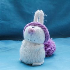 White stuffed animal - Easter Bunny with lavender hat. Custom Plushes toy  handmade. Women s day gift 07bbc9ec0