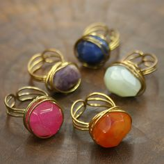 Fair Trade Agate Ring — handmade in India — find them at Fair & Square Imports — This unique ring features a vibrant agate stone wrapped with wire. Handmade in New Delhi, India by a women's cooperative.