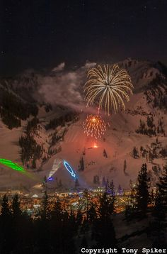 """""""Fireworks Over @Squaw Valley 1"""" -  North Lake Tahoe Snowfest at #SquawValley by @Tony Spiker #Fireworks #LakeTahoe"""