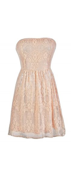 Catching Light Pink Sequin Lace Strapless A-Line Dress  www.lilyboutique.com