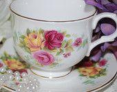 PARAGON Dark Red Fine Bone China Tea Cup and by HoneyandBumble