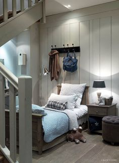 I like the gray and blue together, seeing the blue wall beyond the gray staircase. Wondering about this somewhere in your house, maybe the master bathroom being blue and the bedroom being gray? Or vice versa.