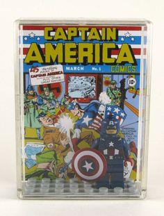 LEGO DC Marvel Superheroes Minifigure Display with figure - Captain America - Avengers. $18.00, via Etsy.