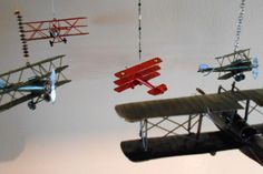 Red Hanging Airplane Decoration by ThreeSweetNotions on Etsy, $16.00