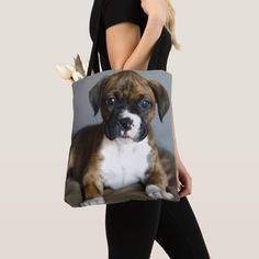 Brindle Boxer Puppy Tote Bag - tap to personalize and get yours #ToteBag #close-up #brindle #boxer #- #dog