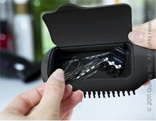 ALWAYS have a hair tie & bobby pins!! Storage in the hairbrush. So smart.