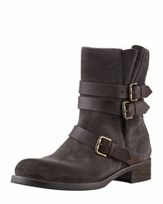 Suede Buckled Ankle Boot, Anthracite at CUSP.