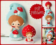 PDF. Gnome mom with baby. Murshroom elves. Plush Doll Pattern, Softie Pattern, Soft felt Toy Pattern.