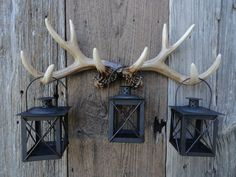 Wall Antlers, Faux Taxidermy, Deer Antler Wall Rack, Antler Hook, Rustic Lantern Wall Decor, Patio Deck Decor, Shabby Chic Outdoor Lighting on Etsy, $52.00