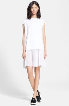 Free shipping and returns on EACH X OTHER Layered Jersey & Georgette Dress at Nordstrom.com. An updated take on an old-school silhouette, this all-white ensemble layers an oversized cap-sleeve tee cut from crisp cotton jersey over an accordion-pleat georgette skirt finished in a frayed hem.