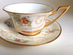Antique Limoges Tea Cup and Saucer Jean Pouyat J by AprilsLuxuries