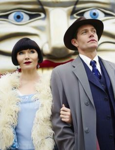 """""""Grab your coat, Miss Fisher. I believe I owe you a ride on the Great Scenic Railway."""" Miss Phryne Fisher (Essie Davis) and Detective Inspector Jack Robinson (Nathan Page) Best Mysteries, Murder Mysteries, Cozy Mysteries, Mystery Novels, Mystery Series, Miss Fisher, The Babadook, Jackie Robinson, Star Wars"""