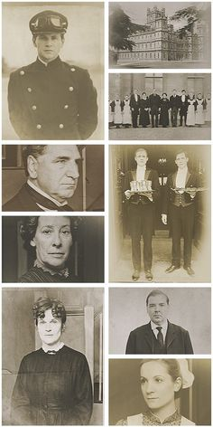 Aged photos of Downton Abbey
