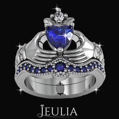 Heart Cut Sapphire Rhodium Plating Sterling Silver Claddagh Ring / Engagement Ring Set