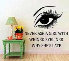 Wall Stickers citation Cat Eye coiffure cheveux beauté Salon Decal vinyle autocollant femme Long cils Closeup maquillage Home Decor fenêtre autocollants NA360