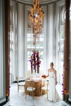 Wedding Centerpiece of roses and orchids - neo modern wedding look by EMC+, Amaryllis Vases from Accent Decor.