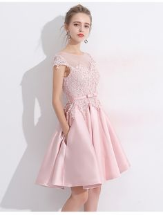 Short Pink A Line Lace up With Appliques for prom - WedDirect - Discount  Wedding Dresses   Supplies from China 8865815dee5a