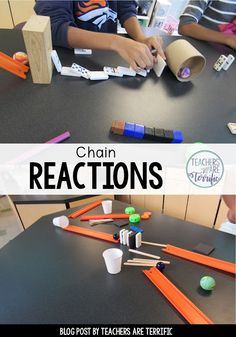STEM with chain reactions! Kids build chain reaction contraptions using a variety of classroom items like craft sticks and dominoes. Science Experiments For Preschoolers, Science For Kids, Science Projects, Projects For Kids, School Projects, Craft Sticks, Craft Stick Crafts, Science Classroom, Teaching Science