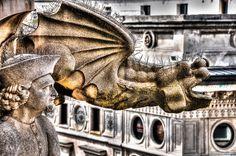 Dragon Gargoyle and Sculpture on the Duomo di Milano (Milan Cathedral) Milan Italy