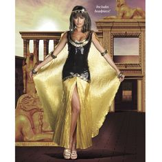 Pyramid Collection - Egyptian Nile Queen Dress & Headpiece Halloween Costume / Cosplay