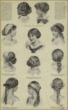1910s Hairstyles for Teenage Girls ~ For dating your vintage photos.