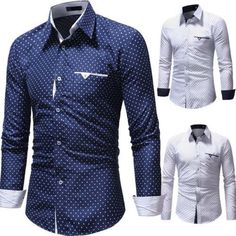 6c9de4fafff0 Mens Long Sleeve Shirts Casual Formal Slim Fit Star Printed Polo Shirt Top  M-3XL