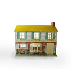 Vintage Metal Doll House  Tin Lithograph Doll House by MyOtherMind, $85.00