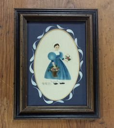 Framed Folk Art signed R. Ross: Young Pilgrim girl by FeeneyFinds