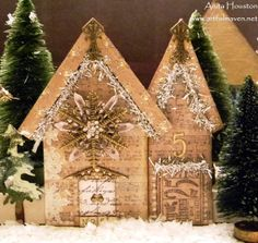 The Artful Maven Haven: The Hood At Christmastime! - using Artful Dwellings dies. Christmas World, Christmas Feeling, Christmas Holidays, Christmas Stuff, Christmas Ideas, Christmas Houses, White Christmas, Xmas, Christmas Card Crafts