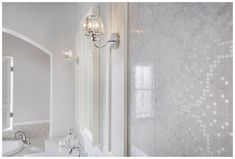 Tall framed panels are perfect for mounting side lights Fitted Bathroom Furniture, Bathroom Colors, Bathroom Ideas, Moroccan Bathroom, Glass Wall Lights, Mosaic Wall Tiles, Large Bathrooms, Colour Schemes, Storage Spaces