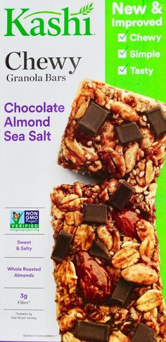 Kashi Chewy Granola Chocolate Whole Roasted Almonds with Sea Salt.  Choose from: 6, 12, 24 or 35 Bars.  When you need a smaller, but healthy snack - these are a go to item.  We normally buy the 35 bar box as it drops the cost of each bar by volume, and we enjoy these daily.  Picture: eBay affiliate link.