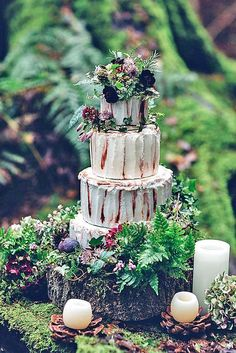 Must-See Rustic Woodland Themed Wedding Cakes ❤️ See more: http://www.weddingforward.com/woodland-themed-wedding-cakes/ #weddings