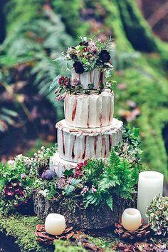 Rustic woodland inspired wedding cake