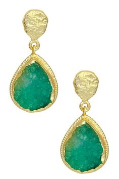 22K Gold Clad Emerald Druzy Teardrop Earrings by Saachi on @HauteLook