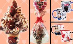 ¡Delicioso Manjar de Frutillas Bañadas en Chocolate + taza personalizada + globo!