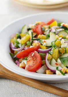 Mediterranean Marinated Vegetable Salad — Top recipe with chopped cook chicken just before serving, and this Mediterranean dinner is ready to enjoy.