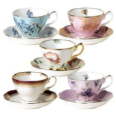 Royal Albert 100 Years of Royal Albert Teacups and Saucers, Set of 5, 1950-1990 by Royal Albert. $109.90. Dishwasher-safe; 2-year warranty. Set of 5 teacups and saucers includes historical patterns from 1950-1990. Crafted of bone china with lustrous 22-karat gold trim. Packaged in presentation-style hatbox. 100 Years of Royal Albert features popular styles from each decade of 20th century. Amazon.com                As it embarks on a new century of fine china design, Roya...