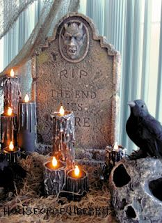 DIY HALLOWEEN CANDLES made with Paper Towel Rolls, Tealights, a hot glue gun and black paint  (really easy)