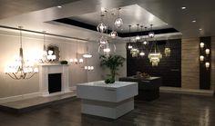 Feiss showroom entrance showcasing: Vinter, Stonesend & Corinne.