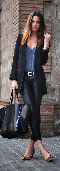 Leather pants, black blazer, leopard print shoes • Street 'CHIC • ❤️ ✿ιиѕριяαтισи❀ #abbigliamento