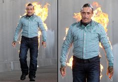 Top Gear presenter Richard Hammond is set alight... Hasn't he done the near death experience thing quite enough already?